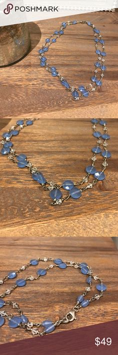 Periwinkle and Swarovski beaded tier necklace Handmade never worn sterling silver chain necklace with periwinkle faceted semiprecious beads and clear Swarovski crystal beads.  Two tiered beautiful chain.  Lobster clasp, hits at collarbone. Jewelry Necklaces