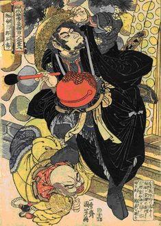 No.29 石秀 命三郎(33)     特殊任務、歩兵軍頭領         笠をかぶり、木魚を持った黒い着物の石秀    腹ばいになった僧「裴如海」の首に足を掛けている    場所はこの僧と密通していた「潘巧雲」の夫「楊雄」の家の裏門
