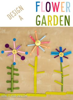 Design a Flower Garden with Loose Parts! Experiment with patterning and symmetry to create unique spring florals, perfect for Preschool and Kindergarten!