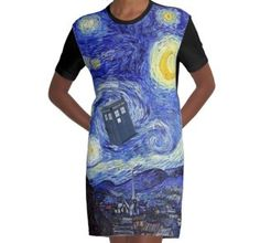 'A Starry Night Van Gogh Mountain Inspiration With Tardis' by Angelinas Tardis, Van Gogh, Bodycon Dress, Dresses For Work, Shirt Dress, Night, Shirts, Inspiration, Products
