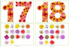 Drie sets cijferkaarten met bloemen van 0 t/m 20: - Cijfers zonder hoeveelheden - Cijfers met hoeveelheden - Leeg vak met bloemen in de hoeveelheden 0 t/m 20 - Een blad met 1 t/m 5 bloemen om de hoeveelheden bij de cijfers te leggen.