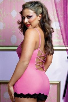 b6b753ff07851 cheap Pink Sheer Lace Contrast Intimate Chemise Plus wholesale - All  Products