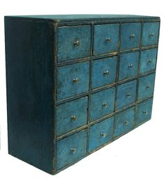 Oooh - Mid 19th century Pennsylvania  Apothecary,with beautiful blue paint, sixteen drawers,  square nailed construction, the wood is poplar circa 1830 - from Country Treasures Antiques
