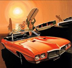 1969 Firebird 400 convertible in Carousel Red Pontiac Firebird, 1969 Firebird, Illustrations Poster, Car Illustration, Automobile, Pontiac Cars, Pontiac Lemans, Car Posters, Car Advertising
