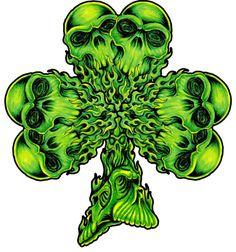 Four Leaf Clover Tattoo Designs Celtic Shamrock Tattoos Skull Tattoo Design, Skull Tattoos, Leaf Tattoos, Sleeve Tattoos, Cool Tattoos, Tattoo Designs, Tatoos, Skull Design, Tattoo Pics