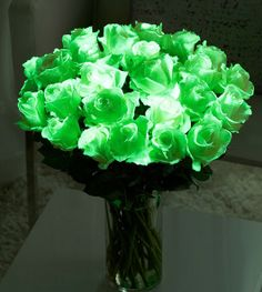 Glow in the dark roses! As in proper, real roses that glow in the dark. Terrible picture, amazing idea.  This would be a cool center piece.