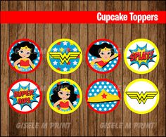 Wonder Woman cupcakes toppers Printable Wonder Woman toppers