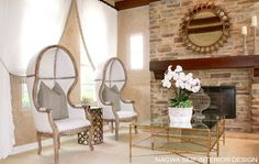 Living room with canopy chairs and sheer white drapes. Bamboo Table, Residential Interior Design, Custom Cabinetry, Formal Living Rooms, Home Look, Great Rooms, Family Room, Dining Chairs, Furniture