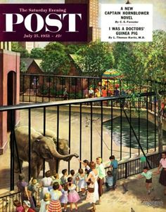 Feeding the Elephants – John Clymer Getting up close and personal with a pair of curious pachyderms may be the thrill of the afternoon, but that motley bouquet of balloons just beyond the elephant habitat is sure to draw some new customers in the immediate future.