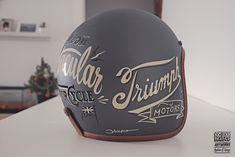 Hedon helmet for Triumph Barcelona byBrusco.com  #hedon #hedonhelmets #helmet #customhelmet #customlids #handpainted #handmade #illustration #triumph #signpainting #signporn #motorcycle #1shot #1shotpaint #brushes #lettering #type #typography #vintagetype #foundtype #goodtype #typespire #typegang #Barcelona #bybrusco #bruscoartworks #Ilovemyjob
