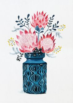 Pink Proteas in West German Onion Vase Ed. 21 of 25 by Sally Browne (CreativeWork) Pink Proteas in W Protea Art, Protea Flower, Flower Vases, Art And Illustration, Botanical Illustration, Illustrations, Art Floral, Painting Inspiration, Art Inspo