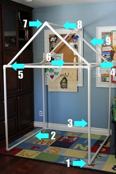 PVC fort/playhouse with instructions and tutorial. Santa Clause's elves will be working on this one....