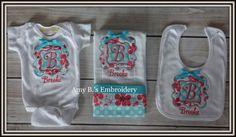 Monogrammed Bib, Burp Cloth, Onesie-Baby Girl Set