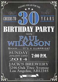 30th birthday Chalkboard Invitation. by ThePaperWingCreation @Kristin ...