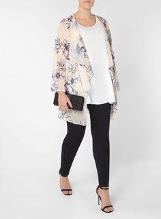Plus Size Fashion | Blush Pink Floral Print Kimono  (plus size) #plussizefashion #dress