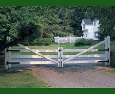 Morgan 3 Rail Farm Gate - A Morgan style three rail farm gate secures the home in a friendly way. Crated in Cedar and stained white.