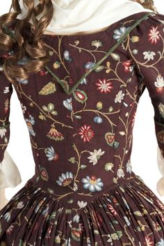 Dress, ca. 1785 floral embroidery all over burgundy