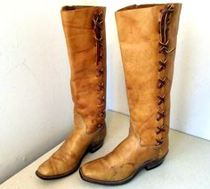 Vintage tall tan leather cowgirl boots - I would have bought these immediately if they weren't 4 sizes too small! :'(