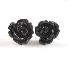 Black Rose Earrings Surgical Steel Posts for Sensitive Ears Black Flower Earings Gothic Jewelry Rose Stud Earrings Gothic Earrings for Teens by foreverandrea on Etsy
