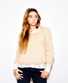 hand knit sweater SOPHIE peach cropped braided by ovejanegra - StyleSays