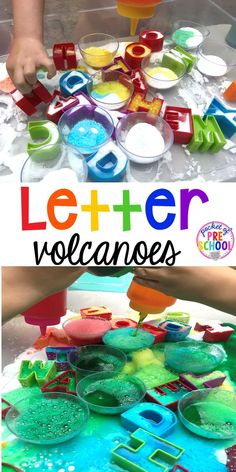 Letter Volcanoes - a science experiment and a letter game! Preschool Letters, Preschool Science, Kids Learning Activities, Alphabet Activities, Preschool Classroom, Science For Kids, Science Activities, Science Experiments, Preschool Ideas