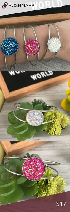 NWT Handmade Silver Druzy Bangle Give the gift of a beautiful sparkling Druzy Bangle bracelet to someone special or treat yourself!   Buy one or buy 2 and get one free!  A perfect bracelet for everyday wear, layer it with other bracelets - beaded, leather, stacking cuffs for a look that speaks to who you are.  Measurements: The cuff is 6 inches long with a 25mm Druzy Stone  Size: one size fits most - cuff is adjustable...gently open to fit wrist and use thumb and middle finger to apply…