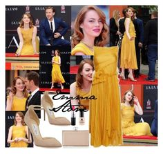 """Emma Stone"" by lizf99 ❤ liked on Polyvore featuring Rochas, Jimmy Choo, MAC Cosmetics, Judith Leiber and Red Carpet Manicure"
