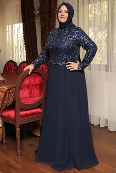 Saliha Lacivert Melek Abiye Elbise