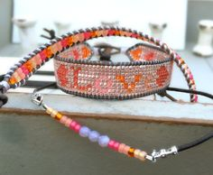 Valentine's Day Love Loom Beaded Loom Bracelet with Boho Leather wrap