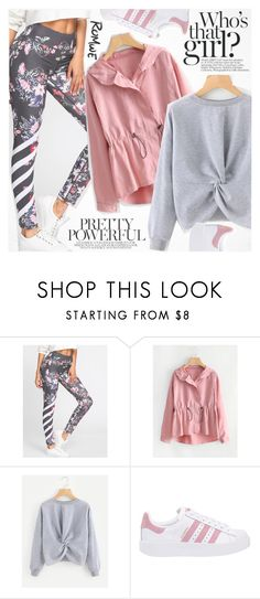 """I work out"" by vanjazivadinovic ❤ liked on Polyvore featuring adidas Originals, romwe, polyvoreeditorial and fuzzycoats"