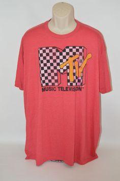 ��NEW Vintage Mens MTV Retro T-Shirt (XXL) Athletic Fit RED w/Checkered Logo 2XL  | eBay