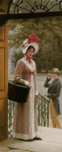 a source of admiration, 1904 – by Edmund Blair Leighton. – Edmund Blair Leighton was an English painter of historical genre scenes, specializing in Regency and medieval subjects. Jane Austen, John Blake, Art Ancien, Regency Era, Pre Raphaelite, Victorian Art, Woman Painting, Beautiful Paintings, Fashion History