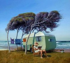 Sitting Pretty by Barry Ross Smith for Sale - New Zealand Art Prints Retro Caravan, New Zealand Art, Nz Art, Vintage Trailers, Vintage Caravans, Vintage Campers, Retro Campers, Kiwiana, Travel Brochure