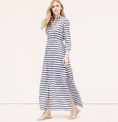 LOFT Beach Striped Maxi Shirtdress
