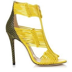 Yellow Nappa and Printed Leather Caged Sandals