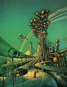 Another piece by Bruce Pennington - a fully imagined world, wonderful and dark. Would love to know more about this image.