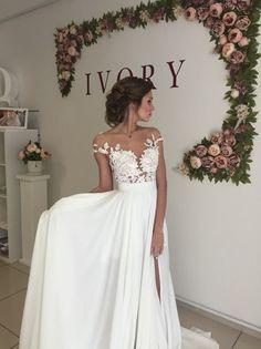 Elegant Lace Appliques 2016 Wedding Dress Long Chiffon Split_High Quality…