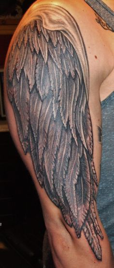 tattoos of wings full arm tattoo | Grey Ink Angel Wings Tattoo On Right Sleeve