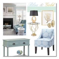 """""""Blue and Gold Decor"""" by monmondefou ❤ liked on Polyvore"""