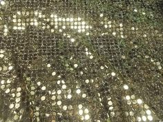 Gold Foil Dot Metallic sewing fabric Novelty Halloween black stretch tinsel  #Unbranded