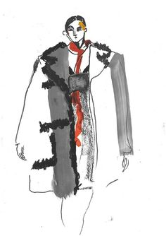 Illustrator Helen Bullock captures the drama and beauty of the latest Prada collection from Milan Textiles Sketchbook, Fashion Sketchbook, Fashion Sketches, Fashion Illustration Collage, Illustration Mode, Fashion Illustrations, Watercolor Illustration, Silhouette Mode, Fashion Communication