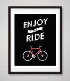 Bicycle art print  Enjoy the Ride Black by RareMachine on Etsy, $18.00