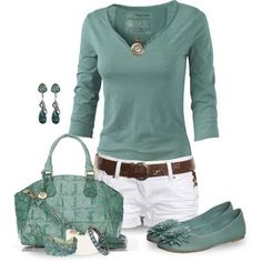 Cute! Maybe a little too much green though...would switch out the shoes for brown sandals