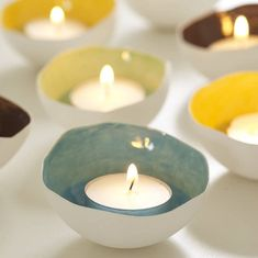 handmade ceramics, tea lights, porcelain tea lights, earthenware tea lights, stoneware by Sinead O Moore Cermaics Earthenware Clay, Ceramic Clay, Ceramic Pottery, Ceramic Pinch Pots, Pottery Pots, Ceramic Decor, Clay Projects, Clay Crafts, Cerámica Ideas