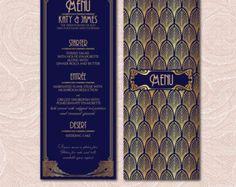 Art Deco Printable Wedding Table Set - Art Deco wedding menu-Wedding table numbers-Wedding place cards