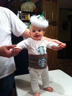 Hand made Starbucks onesie costume by Tricia Raney