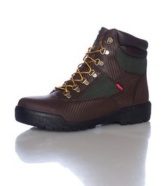 TIMBERLAND Men s 6 inch boot Genuine Helcor Leather Carbon fiber design  Brown