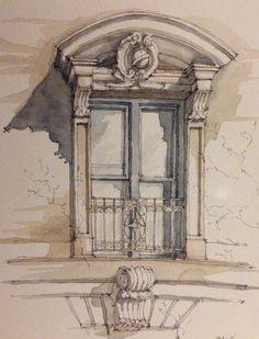 James Anzalone -- Italianate window - an old one on Ave, Park Slope, Brooklyn. New Classical Architecture, Colour Architecture, Architecture Sketchbook, Arte Sketchbook, Watercolor Painting Techniques, Watercolor Art, Window Sketch, Art Alevel, Interior Design Sketches