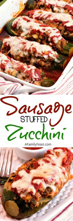 Make these delicious Sausage Stuffed Zucchini from garden grown zucchini!
