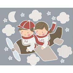 Vinilo infantil: niño y niña en avioneta